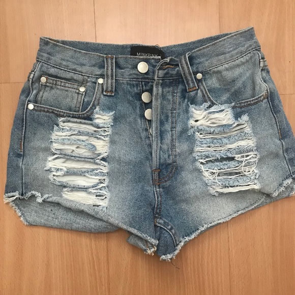 MINKPINK Pants - High waisted ripped jean shorts